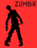 Silhouette of a standing zombie concept in black and red colors. Vector illustration. Royalty Free Stock Photos