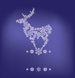 Silhouette of stanging deer formed by snowflakes Stock Image