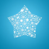 Silhouette Star filled with snowflakes Stock Photos
