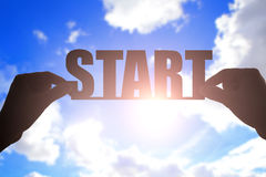 Silhouette of start word Stock Image