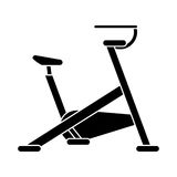 Silhouette stationary bicycle machine gym sport Stock Images