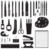 Silhouette of stationery Royalty Free Stock Images