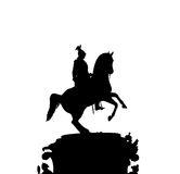 Silhouette of the statue. Black and white silhouette of the  Emperor Nicholas I monument Stock Photo