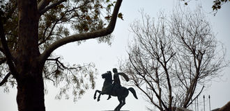 Silhouette of the statue of Alexander the Great Royalty Free Stock Image