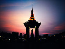 Silhouette. Statue of King Father Norodom Royalty Free Stock Photos