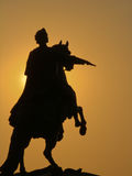 A silhouette of a statue of Peter I the Great Stock Image