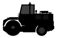 Silhouette steamroller on a white background. Royalty Free Stock Photography
