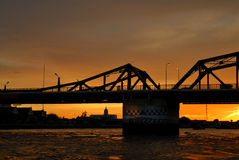 Silhouette of steel bridge Royalty Free Stock Images