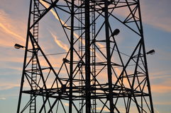 Silhouette of a steel tower Royalty Free Stock Images