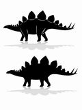 Silhouette of a stegosaurus. vector drawing. Illustration of a stegosaurus . black and white drawing, white background Royalty Free Stock Photography