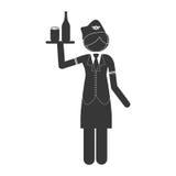 Silhouette stewardess body with drinks Stock Image