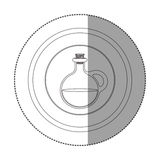 Silhouette sticker circular shape with rounded glass jar with cork stoppers Royalty Free Stock Photography