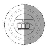 Silhouette sticker with circular shape with trolley car. Vector illustration Royalty Free Stock Photography