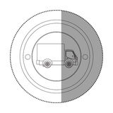 Silhouette sticker with circular shape with truck and wagon Royalty Free Stock Photo