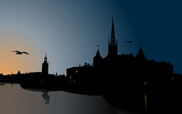 Silhouette of Stockholm. The City Hall, Riddarholm cathedral. Sweden Royalty Free Stock Photography
