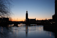 Silhouette of Stockholm. The City Hall, Riddarholm cathedral. Sweden Royalty Free Stock Images