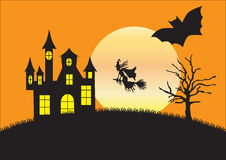 Silhouette of strange house, witch and bat Royalty Free Stock Photos