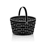 Silhouette straw basket with a handle and reflection Stock Images