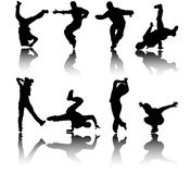 Silhouette street dancers vector. 8 silhouettes of street dancers illustration with reflections vector illustration