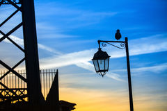 Silhouette of the street lamp Royalty Free Stock Photos