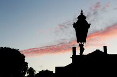 Silhouette of Street Lamp Under Clouds Stock Photos