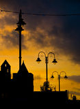 Silhouette street lights  Stock Photography
