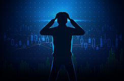 Silhouette of stressed investor on stock chart concept background. Silhouette of stressed investor on concept background about stock chart. Man touch his head stock illustration