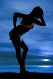 Silhouette stripe dress hand hip lean Stock Photos