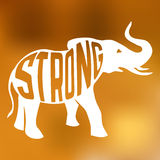 Silhouette of strong elephant with text inside on Stock Photos