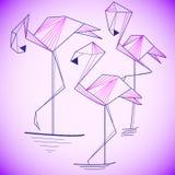 Silhouette stylisée d'un flamant Conception de logo pour la société Image stock