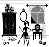 Silhouette of a Stylish Woman Seated in Her Boudoir Royalty Free Stock Image