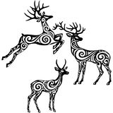 Silhouette of stylized deers Stock Photos