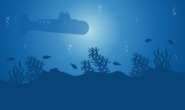 Silhouette of submarine and fish on blue sea landscape. Illustration Royalty Free Stock Photography