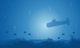 Silhouette of submarine and fish on ocean. Landscape illustration Royalty Free Stock Image