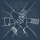 Silhouette of a successfully concluded transaction i. Concept of a successfully concluded transaction in the form of people making pile of hands Icon, silhouette Royalty Free Stock Photo