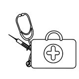 Silhouette suitcase health with stethoscope and syringe Royalty Free Stock Photography
