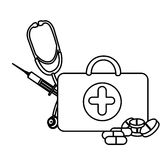silhouette suitcase health with stethoscope, syringe and treatment Stock Photos