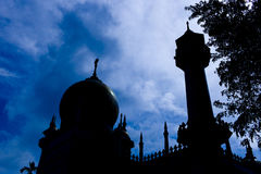 Silhouette of Sultan Mosque, Singapore Stock Image