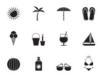 Silhouette Summer, Holiday and beach objects Royalty Free Stock Image