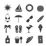 Silhouette Summer and Holiday Icons Royalty Free Stock Images