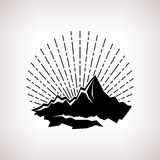 Silhouette sunburst and the mountains Royalty Free Stock Photos