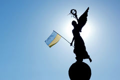 Silhouette in the sunlight of the monument of independence i Royalty Free Stock Photo
