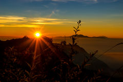 Silhouette sunrise at Bromo mountain view point Royalty Free Stock Photos
