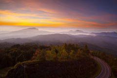 Silhouette Sunrise over Doi Inthanon National park at Chiang Mai Royalty Free Stock Photo