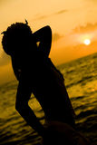 Silhouette in Sunset stock image