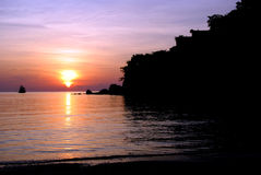 Silhouette Sunset Background. Beautiful Silhouette and sunset at Koh Tao, Thailand Royalty Free Stock Photo