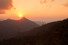 Silhouette Sunset over the Mountains in Nan,Thailand Stock Images