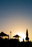 Silhouette at sunset. Sunset silhouette in Puerto Santiago, Tenerife Stock Image