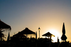 Silhouette at sunset. Sunset silhouette in Puerto Santiago, Tenerife Stock Images