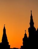 Silhouette in sunset time of Gothic style buildings. Moscow, Russia Royalty Free Stock Images